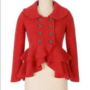 Anthropologie | Red Red Rose Sweatercoat